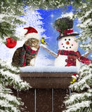 Gato y muñeco de nieve de la Navidad Fotografía de archivo libre de regalías