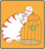 Gato y pájaro Foto de archivo libre de regalías