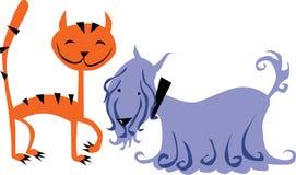 Gato y perro Imagen de archivo libre de regalías