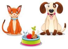 Gato y perro con el alimento. stock de ilustración