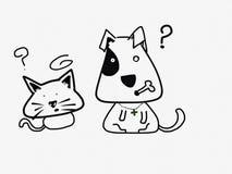Gato y perro confusos Imágenes de archivo libres de regalías