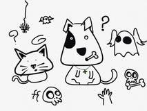 Gato y perro confusos Imagen de archivo libre de regalías