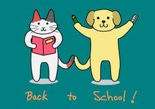 Gato y perro, de nuevo a escuela stock de ilustración