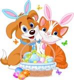 Gato y perro de Pascua Fotos de archivo libres de regalías