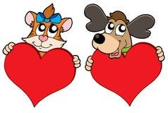 Gato y perro lindos con los corazones rojos Fotos de archivo