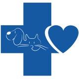Gato y perro - logotipo veterinario ilustración del vector