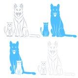 Gato y perro que se sientan Imagen de archivo