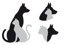 Gato y perro, vector Imagen de archivo libre de regalías