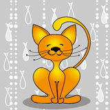 Gato y pescados rojos Imagen de archivo libre de regalías