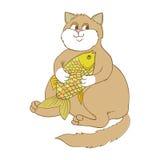 Gato y pez de colores gordos grandes Foto de archivo