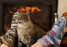 Gato y pies delante de la chimenea Imagen de archivo libre de regalías