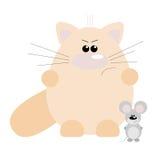 Gato y ratón enojados Foto de archivo