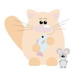 Gato y ratón felices Imagen de archivo libre de regalías