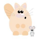 Gato y ratón sorprendidos Imágenes de archivo libres de regalías