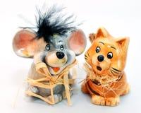 Gato y ratón Fotos de archivo libres de regalías