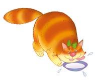 Gato y tazón de fuente de leche Imágenes de archivo libres de regalías