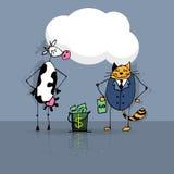 Gato y vaca del negocio Imagenes de archivo