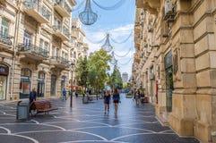 Gator av Baku, arkitektur Royaltyfri Fotografi