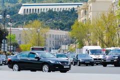 Gator av Baku, biltrafik Arkivbilder