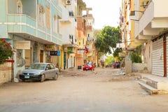 Gator av centret i Hurghada, Egypten arkivbilder