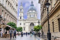 Gator av den centrala delen av Budapest, Ungern arkivbild