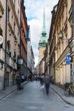 Gator av den gamla staden i Stockholm Fotografering för Bildbyråer