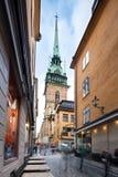 Gator av den gamla staden i Stockholm, Sverige Royaltyfria Foton
