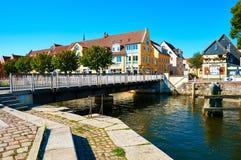 Gator av den historiska mitten Stralsund arkivfoto
