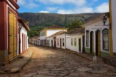 Gator av den historiska staden Tiradentes Brasilien Royaltyfria Bilder