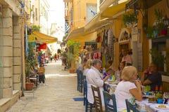 Gator av den Korfu staden, Grekland Royaltyfria Bilder
