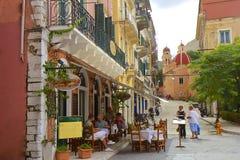 Gator av den Korfu staden, Grekland Royaltyfri Foto