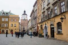 Gator av Lublin den gamla staden royaltyfria foton