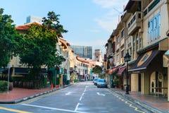 Gator av restauranger, stänger och diskon i Singapore Arkivfoto