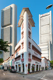 Gator av restauranger, stänger och diskon i Singapore Arkivbilder