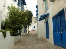 Gator, dörrar och byggnader nästan mitten av Sidi Bou Said, den berömda byn med traditionellt tunisiskt arkivfoto