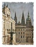 Gator för Tjeckien Prague Stiliserad konstbakgrund Royaltyfria Bilder