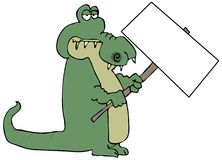 Gator Holding A Sign Royalty Free Stock Photos