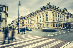 Gator och byggnader av Warszawa Arkivfoton