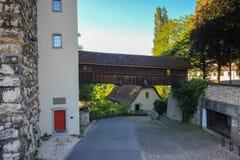 Gator och byggnader från Aarau, Schweiz Arkivfoto