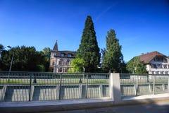 Gator och byggnader från Aarau, Schweiz Fotografering för Bildbyråer
