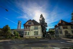 Gator och byggnader från Aarau, Schweiz Royaltyfri Foto