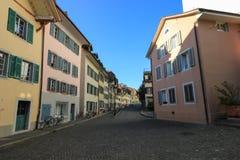 Gator och byggnader från Aarau, Schweiz Arkivbilder