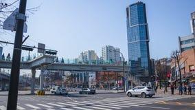 Gator och byggnader i Seoul arkivfoton