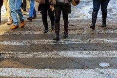 Gator och stadsväg som täckas med snö under tungt snöfall arkivbilder