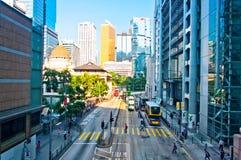 Gator och trafik i Hong Kong den finansiella mitten Arkivbilder