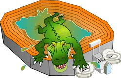 Gator Stadium. Alligator climbing out of 'the swamp' known as Ben Hill Griffin stadium. A Florida gators football fan design stock illustration