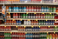 Gatorade Energy Sports Drinks. Isle with Bottles of Gatorade sports energy isotonic drink in Supermarket Royalty Free Stock Image