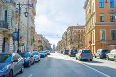 Gatorna av St Petersburg royaltyfri fotografi