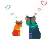 Gatos asiáticos con las gafas de sol, historieta Foto de archivo libre de regalías