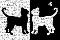 Gatos blancos y negros de la silueta con la inscripción Imágenes de archivo libres de regalías